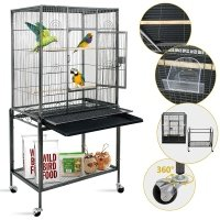 SUPER DEAL Rolling Bird Cage Large Wrought Iron Cage for Cockatiel Sun Conure Parakeet Finch Budgie Lovebird Canary Medium Pet House with Rolling Stand