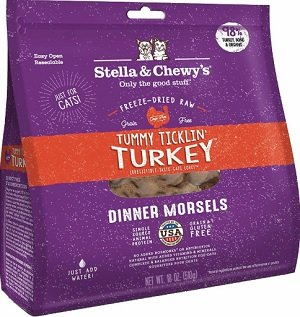 Stella & Chewy's Tummy Ticklin' Turkey Dinner Morsels Freeze-Dried Raw Cat Food