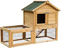 PawHut Wooden Bunny Hutch with Outdoor Run