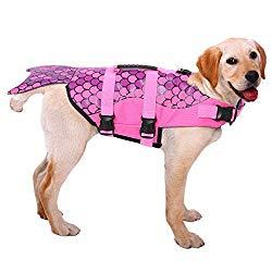 ASENKU Dog Life Jacket Ripstop Pet Floatation Vest Saver Swimsuit