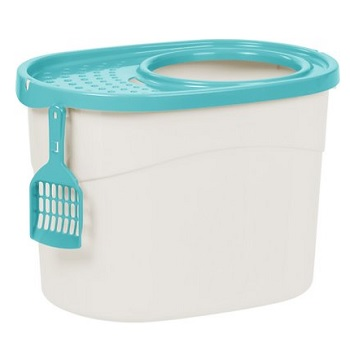 IRIS Top Entry Cat Litter Box & Scoop, White/Green