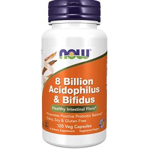 NOW Supplements, 8 Billion Acidophilus & Bifidus 120 Veg Capsules