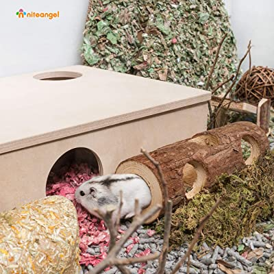 Niteangel Natural Wooden Hamster and Mouse Tunnel Tube Toy