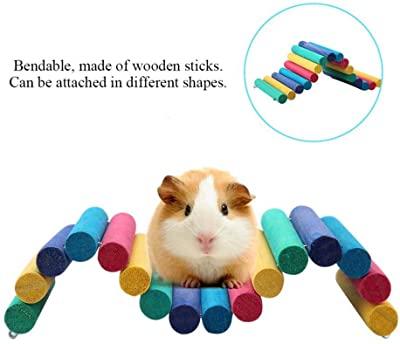PIVBY Wooden Hamster Ladder Bridge Small Animal Chew Toy
