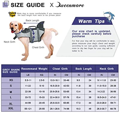 Queenmore Dog Life Jacket Ripstop Dog Safety Vest