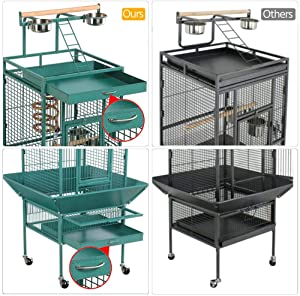 Yaheetech Wrought Iron Rolling Large Bird Cage