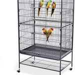 Bellanny Bird Cage with Rolling Stand Wrought Iron Large Flight Bird Cage