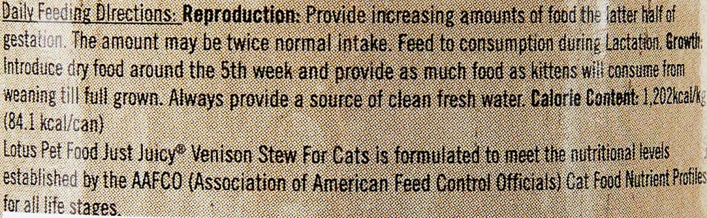 Lotus Just Juicy Venison Stew Grain-Free Canned Cat Food