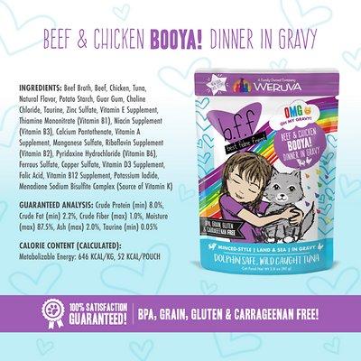 BFF OMG Booya! Beef & Chicken Dinner in Gravy Grain-Free Cat Food Pouches