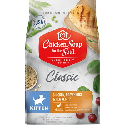 Chicken Soup for the Soul Classic Chicken, Brown Rice & Pea Kitten Recipe Dry Food