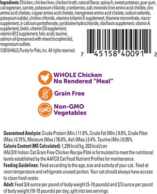 Halo Chicken Recipe Pate Grain-Free Indoor Cat Canned Cat Food