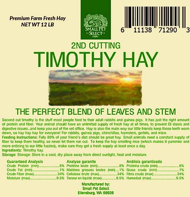 Small Pet Select Second Cut Timothy Hay Small Animal Food