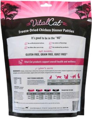 Vital Essentials Chicken Mini Patties Grain Free Limited Ingredient Freeze-Dried Cat Food