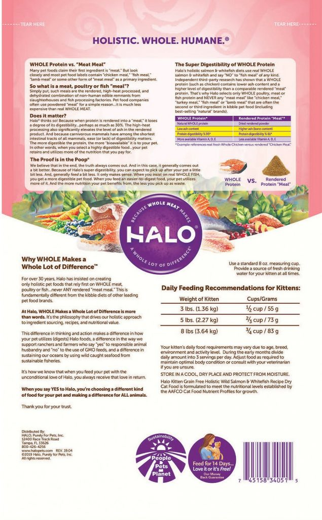Halo Holistic Wild Salmon & Whitefish Recipe Adult Dry Cat Food