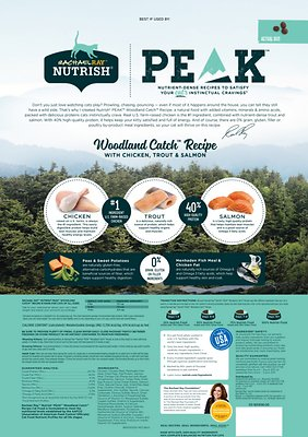 RACHAEL RAY NUTRISH PEAK Grain-Free Natural Woodland Catch Recipe with Chicken, Trout & Salmon Dry Food