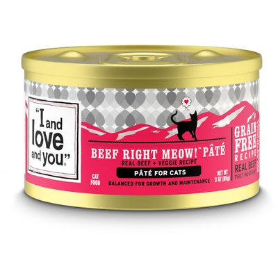 I AND LOVE AND YOU Cat Cans Beef, Right Meow! Pate