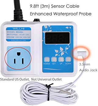 WILLHI WH1436A 10A Temperature Controller 110V Digital Thermostat Switch Sous Vide Controller NTC 10K Sensor Improved Version